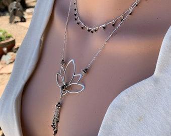 Black Onyx Layered Necklaces/Lotus Flower Statement Necklace/Dainty Blk Onyx Dangle Choker/Rebirth Symbol/Buddism/Kimbajul/Kimbagirl/Arizona