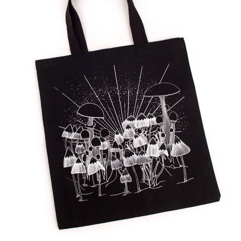 Black Cotton Canvas Psilocybin Entheogen Psychedelic Mushroom Tote Bag