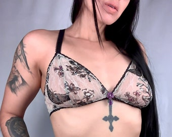 Butterfly lace bralette with amethyst crystal charm, women's lingerie, lace bra, boudoir apparel, unique lingerie, gifts for women