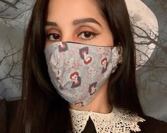 Countess Elizabeth Bathory adult face mask/covering, adjustable, spooky face mask, Halloween face mask, vampire face mask