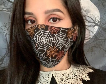 Metallic spider webs Halloween face mask/covering, adjustable ear loops, spooky face mask, horror face mask, spider face mask