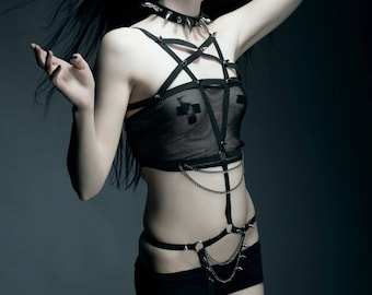 Pentagram spiked and chained body harness