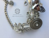 ERICE, Assemblage necklace, silver, repurposed earrings, buttons, statement jewelry, one of a kind, bib necklace