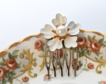 Red Flower Hair Comb Victorian Style Hair Comb Vintage Style Hair Comb