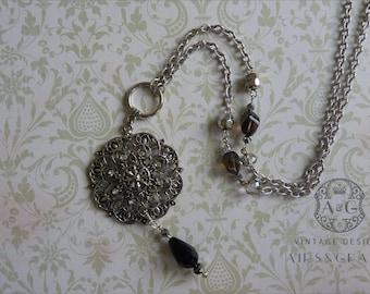 Luci, Vintage Reimagined Long Necklace, filigree, black stone, silver
