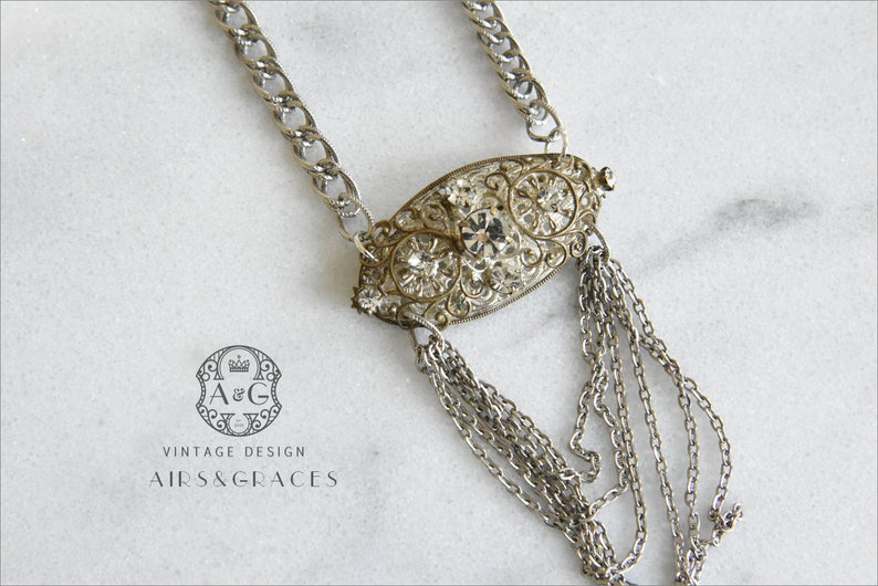 Sparkle Brooch Chain Vintage Chic Victorian One of a Kind Repurposed Vintage Necklace BRITNEY Gift for Mom Sterling Silver
