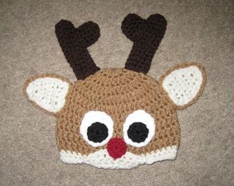 ddb2a1f9172 Custom Crochet Reindeer Hat