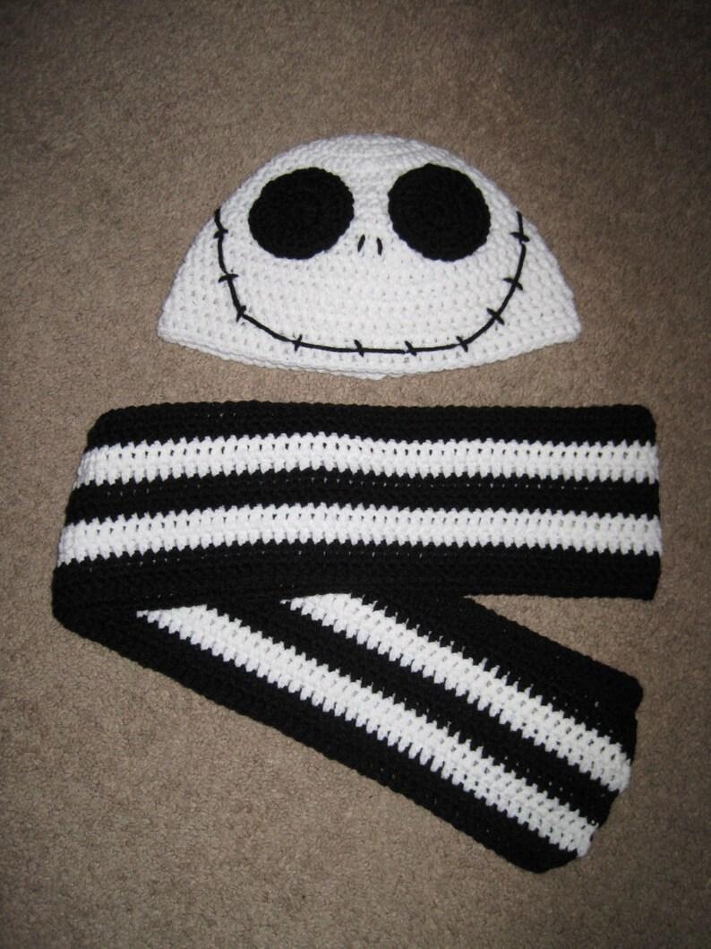 c72ddbab Jack Skellington Nightmare Before Christmas Hat and Scarf Set | Etsy