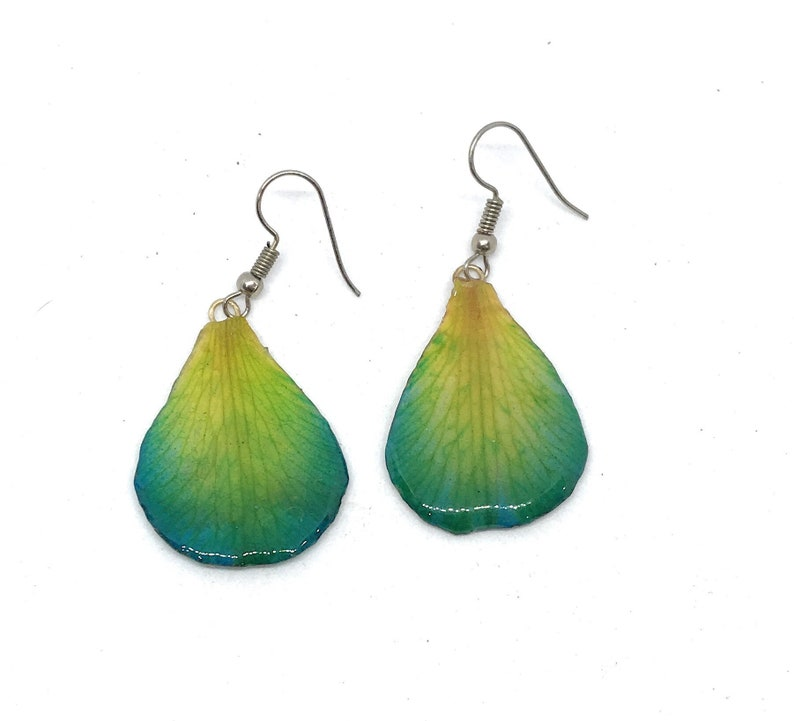 Orchid petal earrings real flower jewelry colorful light weight colorful timeless handmade one of a kind green blue red fashion free ship