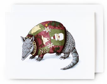 texas christmas card armadillo in an ugly christmas sweater single card wenvelope original artwork - Texas Christmas Cards