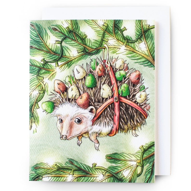 Hedgehog Christmas Card wEnvelope {Single Card}