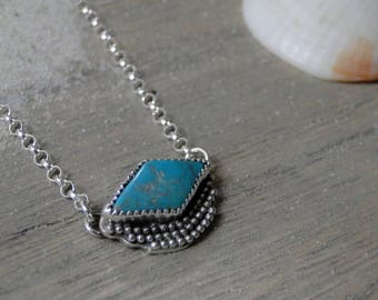Pilot Mountain Turquoise Necklace, Genuine Turquoise, Turquoise Jewelry, Turquoise Necklace, Turquoise Diamond, Sterling Silver