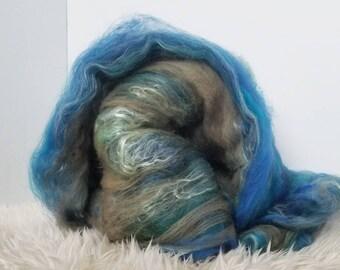 Merino Wool. Hand Made Batts. Art Batt. Spinning Fiber. Carded Wool Batt. Blue Carded Wool. Felting Fiber.