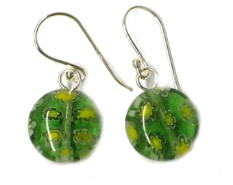 4e59e62e3ca0 Murano aretes de cristal verde disco redondo Murano Pendientes de cristal  925 patrón de flores de plata