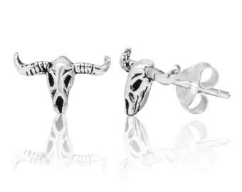 f31795d36bce aretes de plata aretes 925 joyas de plata cráneo de búfalo