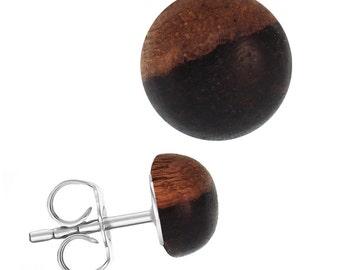 Wood earrings stainless steel hemisphere unisex Sonoholz bright dunkel(Art-Nr. ES-1342-02)