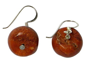 Coral earrings disk 925 Sterling Silver earrings coral ladies jewelry (No. OK-02a)