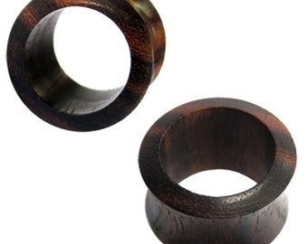 Tunnel dark brown Sonoholz narrow edge wood tunnel carved tribal plug Expander (No. HPT-55)