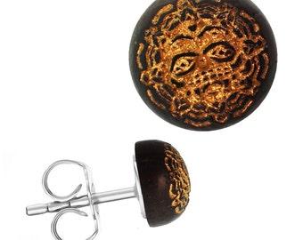 Wood earrings stainless steel Sonoholz round 8 mm laser-engraved golden Kriegermaske(Art-Nr. ES-1343-12)