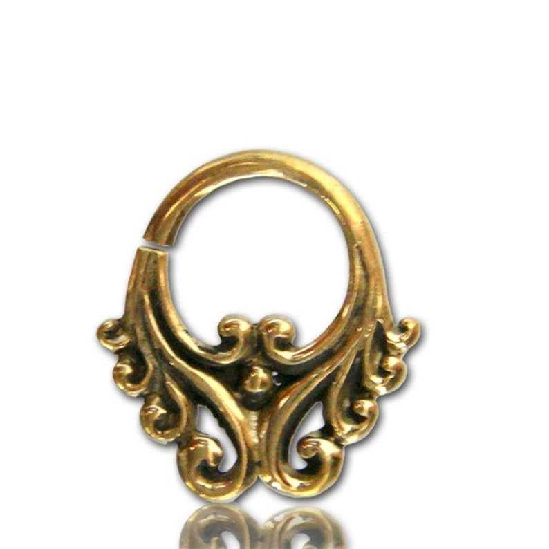 Septum piercing nose rings squiggly waves 1 mm gold-colored nickel-free exotic antique earring
