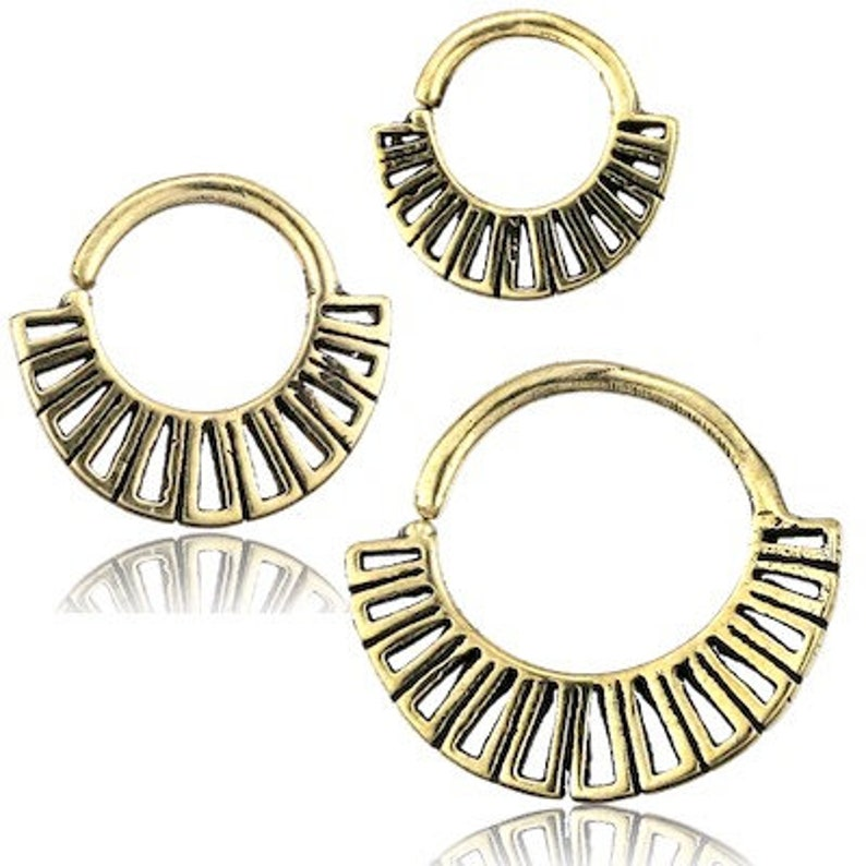Septum piercing Fake Nose Ring spiral arch abalone shell inlay brass golden
