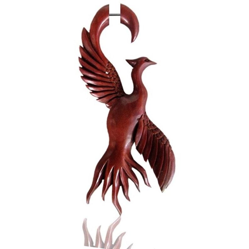 Fake Piercing phoenix bird Sawo wood maroon plug 85 mm Studs handgeschnitzt