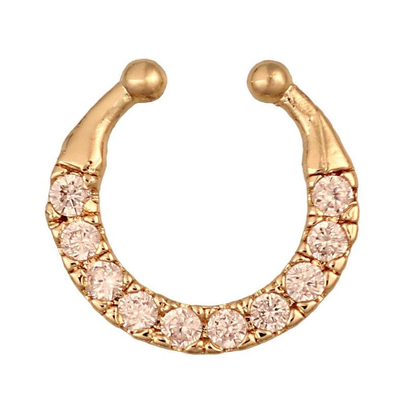 Fake septum piercing golden border White Round Cubic Zirconia stones steel