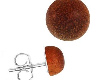 Wood earrings stainless steel hemisphere unisex Changholz (No.-1342-14)