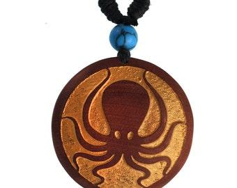Wood chain golden engraving turquoise stone Sawoholz cotton adjustable unisex (KH-114)