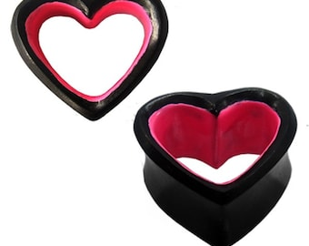 Hollow wood tunnel heart pink black Sonoholz wooden tunnel carved tribal plug earring studs (No. HPT-86)