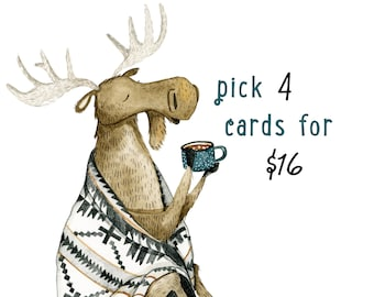 Set of Four Cards | Woodland Animal Cards, Greeting Card Set, Birthday Card Pack, Whimsical Cards, Watercolor Cards, Blank Cards