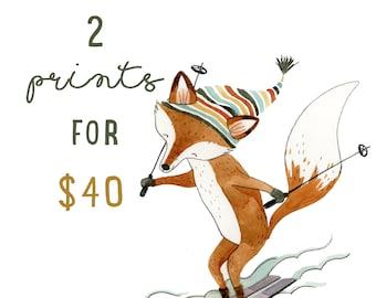 2 Prints for 40 (8x10) | Watercolor Art Print | Woodland Wall Art | Woodland Art | Cute Nursery Art | Kids Room Wall Decor | Art Print Sets
