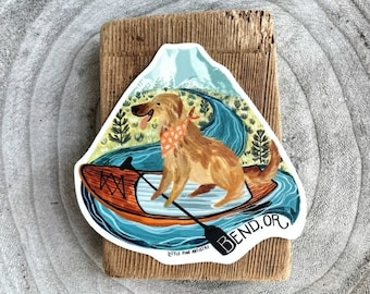 Bend Paddle Board Pup Sticker | Premium Die Cut Vinyl Stickers | Bend Oregon Stickers | For Laptops, Water Bottles, Cars, Planners, etc.
