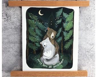 Night Forest Print w/words | Gouache Art Print | Woodland Wall Art | Woodland Art | Boys Nursery Art | Girls Nursery Art | Baby Nursery Art
