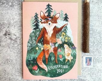 Celebrating You Birthday Card | Girls Birthday Card, Woodland Animal Cards, Whimsical Greeting Cards, Happy Birthday Card, Handmade Cards