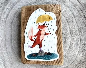 Rainy Day Fox Sticker | Premium Die Cut Vinyl Stickers | For Laptops, Water Bottles, Journals, Hydroflasks, Car Bumpers, Planners, etc.