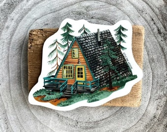A-Frame Cabin Sticker | Premium Die Cut Vinyl Stickers | Cabin Life Sticker | For Journals, Hydroflasks, Car Bumpers, Planners, etc.