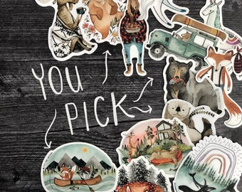 You Pick Sticker Pack - Custom Amount of Premium Animal Stickers | Woodland Stickers for Laptops, Water bottles, Hydroflasks, Planners, etc.