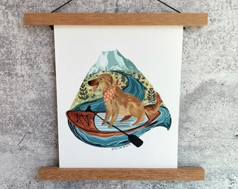 Paddle Board Pup Print | Gouache Art Print | Woodland Wall Art | Golden Retriever Art | Dog Art | Fun Outdoor Art | Kids Room Wall Art