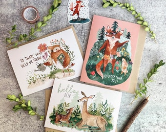 Spring Collection of Cards and Stickers for Teacher Appreciation | Card Sticker Combo | Spring Cards | Woodland Animals