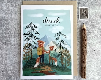 Father's Day Adventure Card | Cute Fox Cards | Whimsical Cards | Father's Day Card | Birthday Cards | Dads Day Card | Woodland Cards