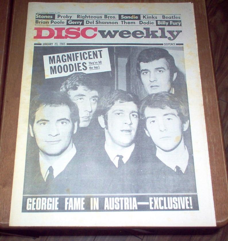 Disc Magazine 1965 UK The Moody Blues Beatles Rolling Stones Kinks PJ Proby  Rare Vintage Music Vintage Original UK Classic Rock Music
