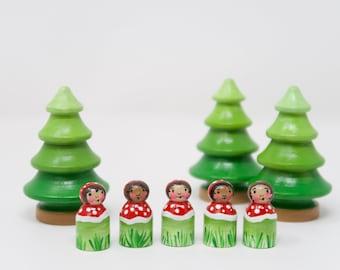 Baby Mushroom peg doll, wooden mushroom toy, stocking stuffer, kids Christmas, pocket mushroom, hand made kids toy, advent calendar,
