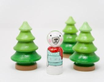 Polar Bear Peg Doll,  Polar bear toy, wooden polar bear toy, hand painted polar bear, hand made kids toy, kids christmas, stocking stuffer