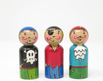Set of 3 Pirates,  Pirate peg doll, pirate toy, handmade kids toy, wooden peg people, pirate play, pretend play. waldorf toy, wooden pirate