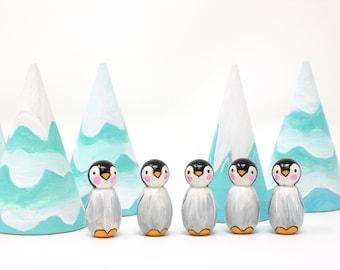 Baby Penguin, Baby penguin peg doll, wooden penguin toy, hand painted penguin, penguin chick, pocket penguin, hand made kids toy,