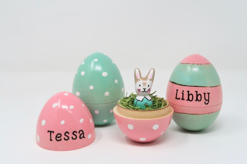 Personalized Easter Egg & Bunny bunny peg doll hollow wooden image 0