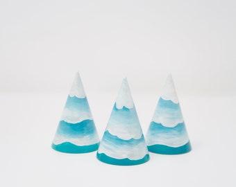 Snowy Mountain/Snowy Tree-cone shape, winter mountain, arctic toy, wooden snowy mountain, handmade toy, winter themed toy, winter decoration