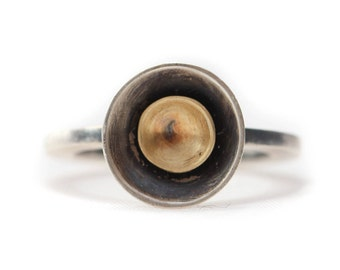 Oxidized Sterling Silver and 18k Gold Circle Ring