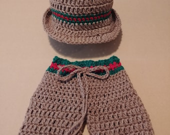 Crochet Hat & Shorts Outfit